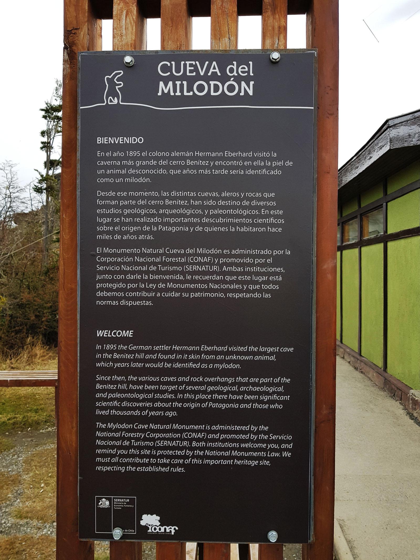 Die erste Station: Eingang zur Höhle des Riesenfaultiers Milodon