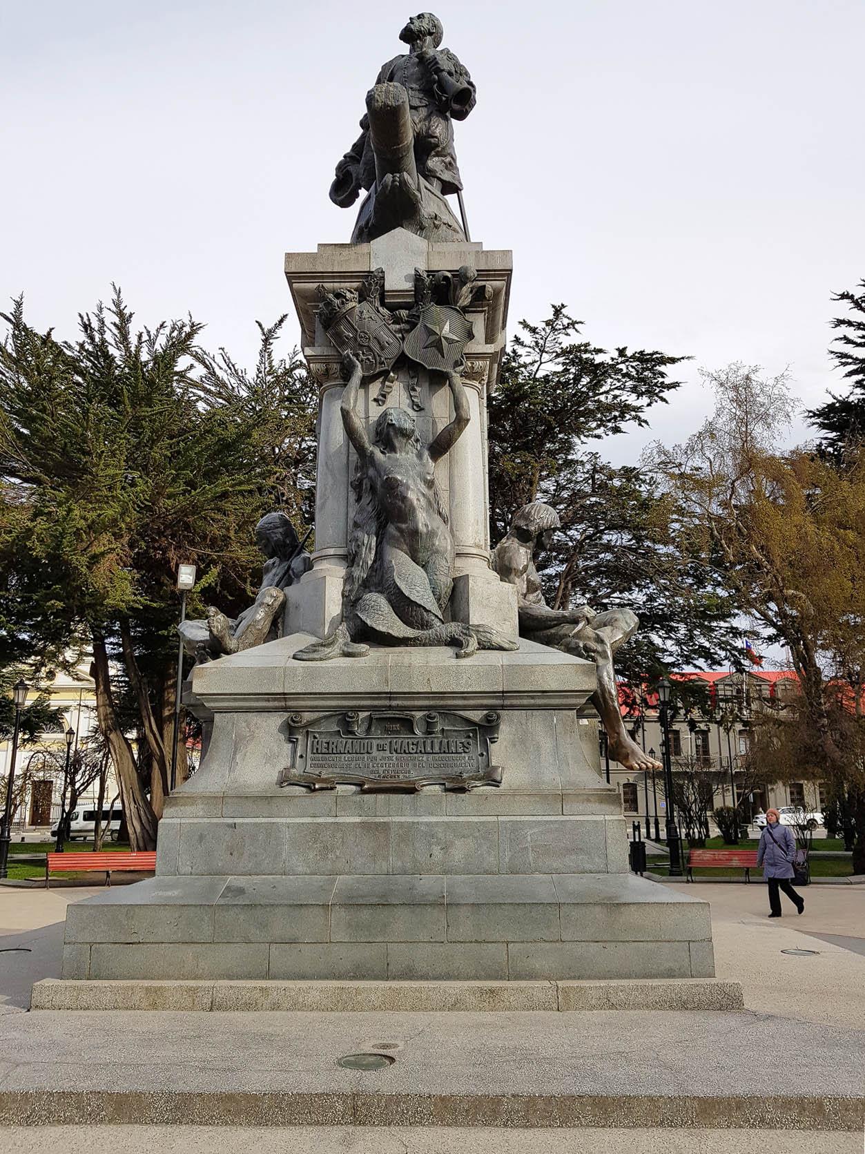 Ferdinand Magellan - Denkmal in Punta Arenas, das auf Initiative von Sara Braun errichtet wurde